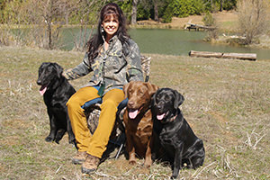 Jana Love and her Labrador dogs